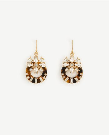 Tortoiseshell Print Crystal Drop Earrings Ann Taylor
